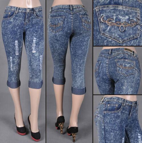 NWT Junior Stretch Denim Croped Capri Jeans Roll up bottom snow wash SG-25779