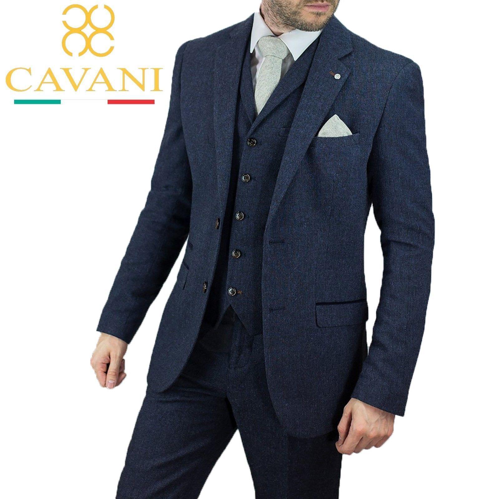 Herren Cavani Navy Wool Mix Peaky Blinders Herringbone Tweed Wedding 3 Piece Suit