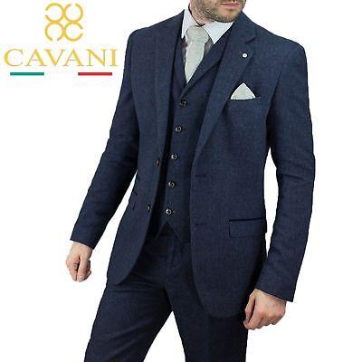 Mens Cavani Navy Blue Check Herringbone Tweed Formal Wedding 3 Piece Suit New
