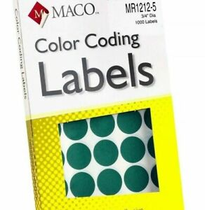 Details About Maco New 1000 Round Color Coding Labels 3 4 Inches In Diameter Mr1212 5 Green