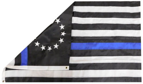 Betsy Ross Thin Blue Line 3/'x5/' 150D Dura-Last Nylon Embroidered Flag Clips