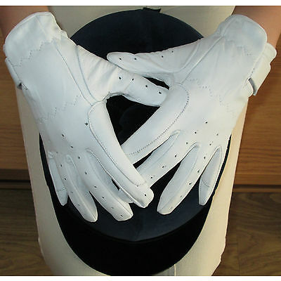 Ladies White or Cream Leather Dressage Gloves Horse Riding Small Medium Large XS