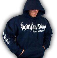 Bodybuilding Clothing Hoodie Workout Top Navy Iron & Pain Logo