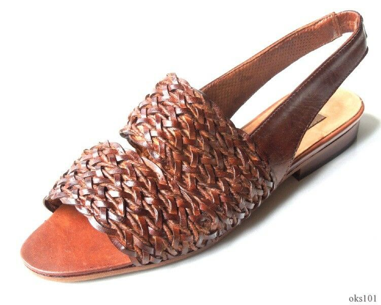 new SESTO MEUCCI 'Orsk' brown woven leather strappy sandals shoes Italy 6.5