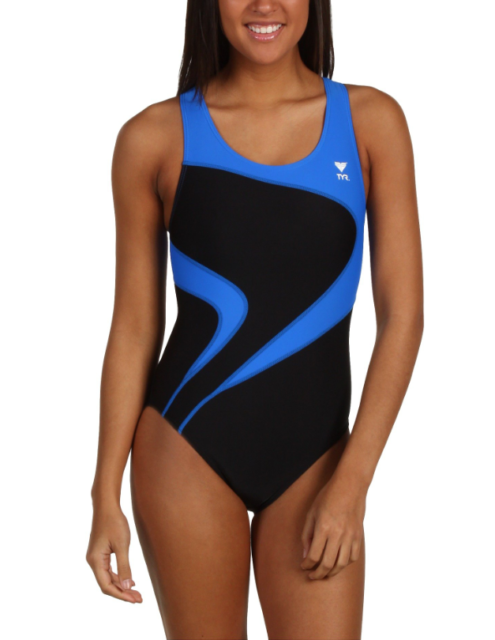 b8b4c8c68f TYR Womens Blue Black Alliance T Splice Maxback One Piece Swimsuit Sz 40  7410