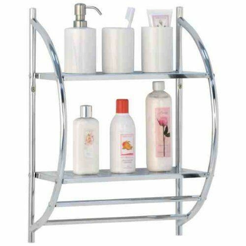 Modern Chrome 2 Tier Wall Mounted Bathroom Shelf Unit Rack With Towel Rails