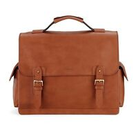 Aspinal Of London Shadow Briefcase In Smooth Tan