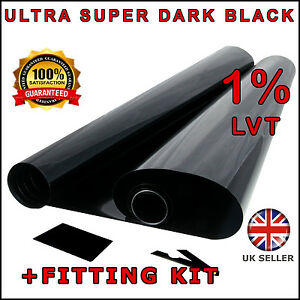 KIT SUPER DARK BLACK 95/% DARKER CAR WINDOW TINTING FILM 6m x 76cm ROLL TINT