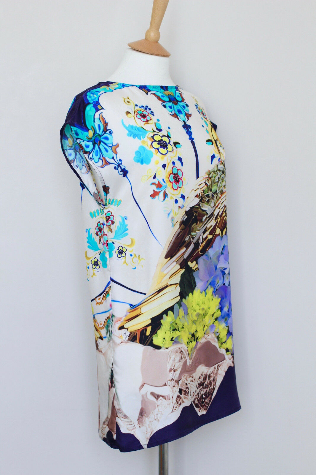 MARY KATRANTZOU Topshop Topshop Topshop bluee white yellow silk eagle floral tunic dress S Small ff7332