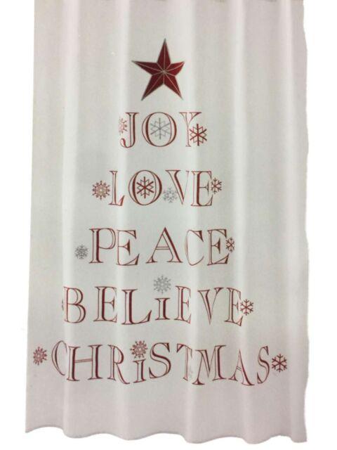Winter Wonderland Holiday Sentiments Fabric Shower Curtain Christmas Decor