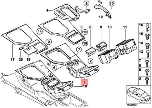 Genuine BMW E39 520d 520i 523i 525d Center Console Insert Center 51168256297