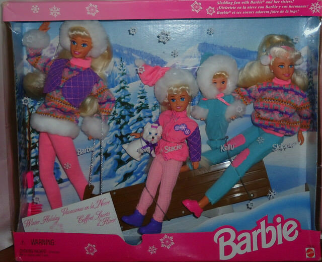 Winter Holiday Barbie Doll With Sisters Skipper Stacie Kelly Sleigh Gift set