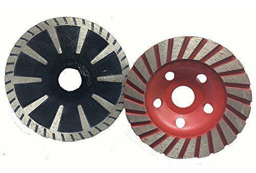 2 X 5 Inch Turbo Grinding Cup Wheel 3 PCS Diamond Convex Blade Concrete Granite