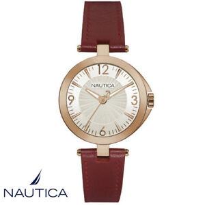 Nautica-NAD11017L-NLC-105-rosegold-Armband-Uhr-Damen-Leder-rot-NEU