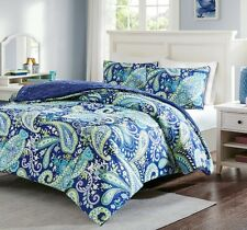 Blue Comforter Set Full / Queen Size Paisley Print 3 Pc Reversible Soft  Faux Fur