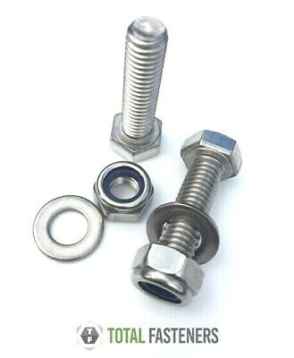 M6 6MM A2 STAINLESS STEEL HEX HEAD  BOLT WITH NYLOC LOCK  NUT AND WASHERS