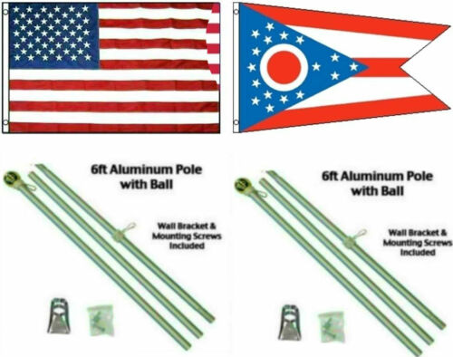 3x5 USA American /& State of Ohio Flag Aluminum Pole Kit Ball Top 3/'x5/'