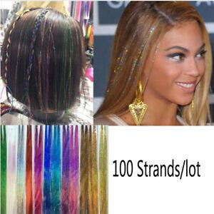 Hair-Metal-cheveux-extension-des-paillettes-couleur-arc-en-ciel-bling-soie