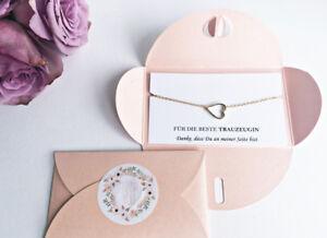 geschenk f r trauzeugin herz gold als geschenk rosa verpackung thank you ebay. Black Bedroom Furniture Sets. Home Design Ideas