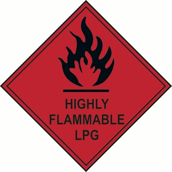 2 x highly flammable lpg warning hazard diamond labels stickers