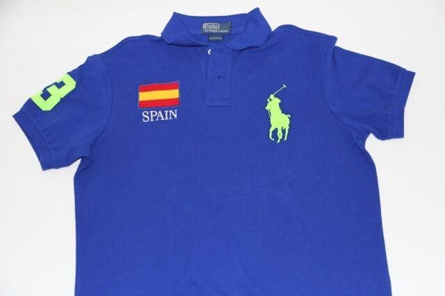 Polo Ralph Lauren Men Blau Neon Shirt Big Pony Spain Flag XLarge XL CUSTOM FIT