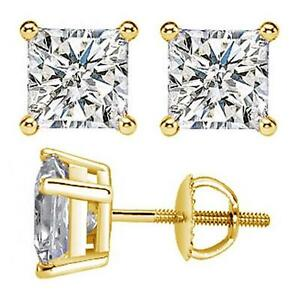 0-40-CT-100-Natural-Princess-Cut-Diamond-Stud-Earrings-in-14k-Yellow-Gold-New