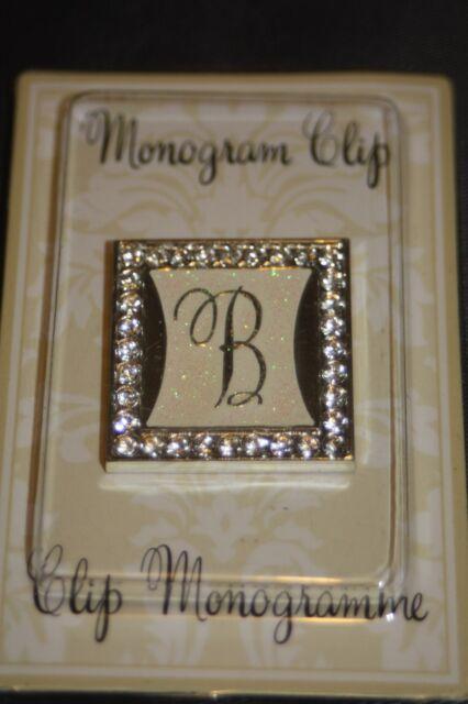 B Rhinestone Gemstone Monogram Initial Wedding Clip Alphabet Letter Emblem Charm