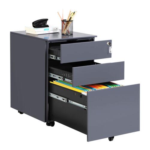 Aktenschrank Stahl Rollcontainer Büroschrank Nachtschrank mit 2//3 Schubladen