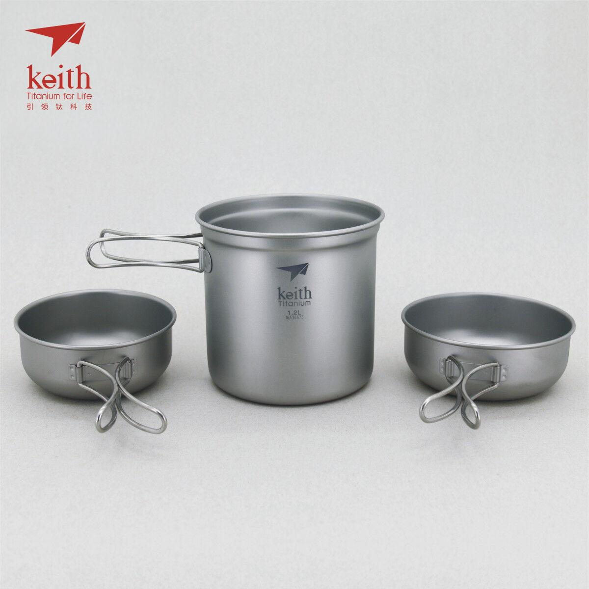 Keith Titanium Ti6052 3-Piece Pot and Bowl Set (Shipped from USA)