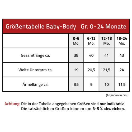Baby Body hochwertige Qualitäts Bodys 0-24 Monate Produced in St Pauli 09491