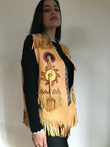 Vintage Deerskin Indian Painted Fringe Vest Jacket