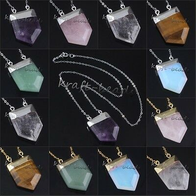 Silver/Gold Plated Different Stone Shield Shape Hearing Chakra Pendant Necklace
