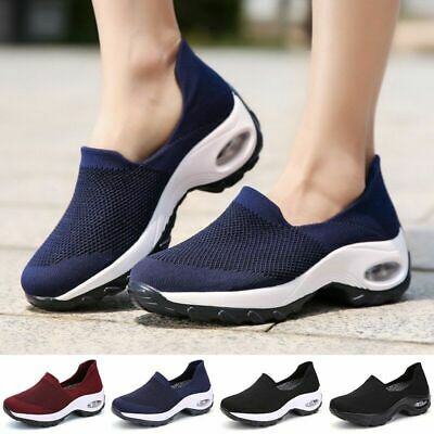 Women's Walking Shoes Fly-weaving Breathable Mesh Chunky Air Cushioned Footwear  | eBay