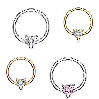 Captive bead ring-tabique closure anillo piercing corazón Helix Tragus 10mm #283