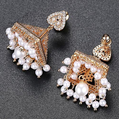 Indian Bollywood Jhumka Jhumki Women Bridal Ethnic Beads Drop Earring Jewelry