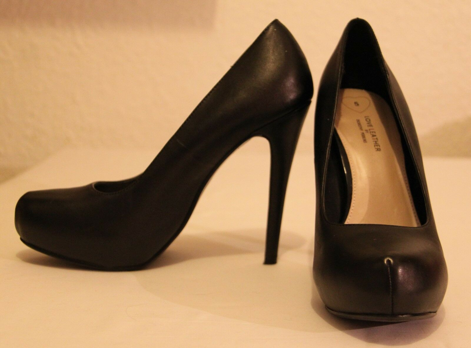 Dgoldthy Perkins Black Leather stiletto shoes with platform sole and seamed toe 5