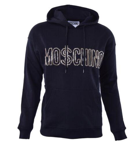 Gold Moschino Couture 04475 logo Kapuzenpullover Runway Hoodie Mit Keten Schwarz dB0BnqrZgw
