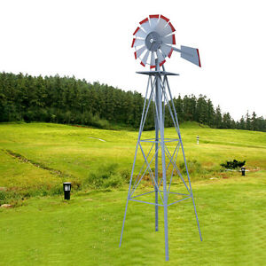 Charmant Image Is Loading 8ft Ornamental Decorative Garden Yard Windmill Silver Red