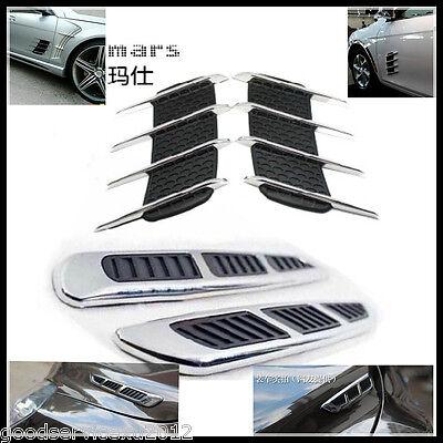Hood Side Fender Exterior Decorative Chrome Air Flow Intake Vent Grille for Benz