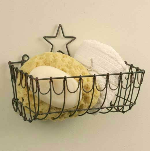 SALE /Country new tin STAR wall basket /nice storage / decor basket