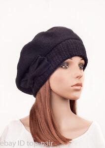 1f5ddb0c45127 M484 Black Women Cute Bow Warm Cashmere Wool Winter Beret Hat Beanie ...