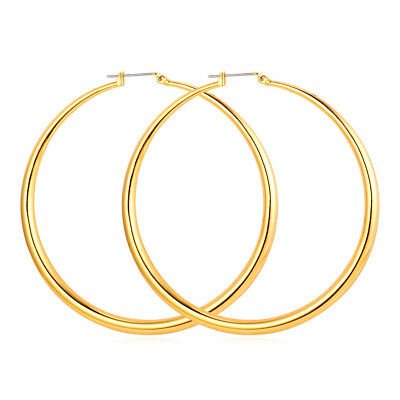 Classic Simple Basketball Wives Round Hoop Earrings 18K Gold Plated Small / Big