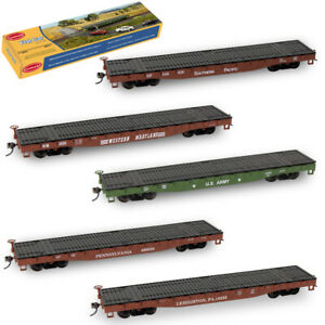 1pc-5pcs-HO-52ft-Flat-Car-1-87-Flatbed-Train-Container-Carriage-Freight-Cars