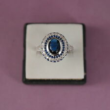 Beautiful 18 KT White Gold Filled Ring With Sapphire And Topaz Gem Size O In Box