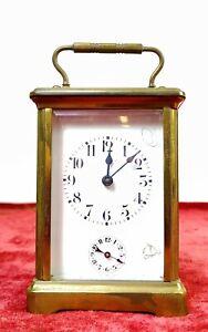 Discret Horloge De Chariot, RÉveil. Cristal. Bronze. En Fonctionnement. France (?) Xix