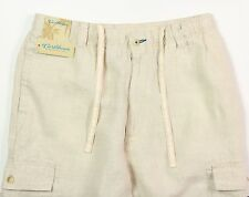 Men's CARIBBEAN Natural Light Khaki LINEN Drawstring Pants 36x32 NEW NWT Cargo