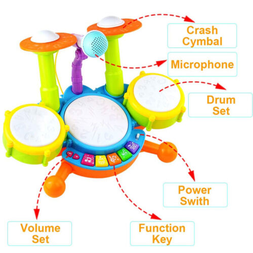 Baby Kids My First Drum Kit Play Set Musical Drums Toy Instrument W//Microphone