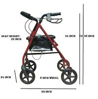 8 Inch 4-wheel Rollator Light Weight Rolling Casters Walker With Shopping Cart
