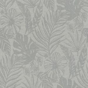 Portefeuille-Tropical-Feuille-Papier-Peint-Gris-Argent-Rasch-215502