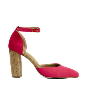 Pump Gold Spitze Shoe Chunky D'orsay Vegan Schnalle Damen Ferse Strap Eco Cork vqawxgtW7I
